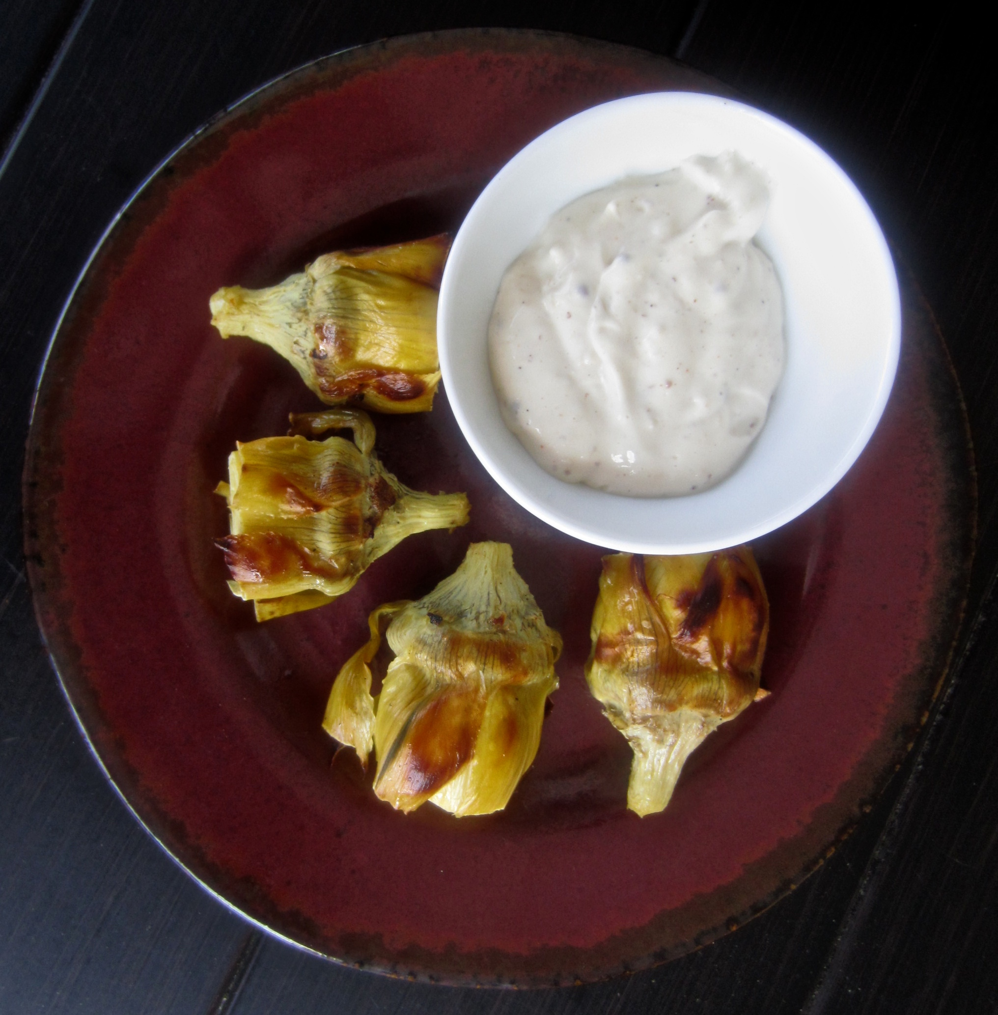 Roasted Artichoke Hearts with Horseradish Dip | Spoonful of Sugar Free